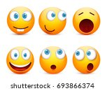 smiley with blue eyes emoticon... | Shutterstock .eps vector #693866374