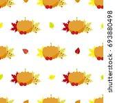 pumpkin  vintage  leaves...   Shutterstock .eps vector #693880498