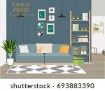 furniture interior. living room ... | Shutterstock .eps vector #693883390