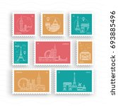 a set of postage stamps vector  ... | Shutterstock .eps vector #693885496