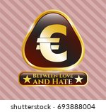 gold badge or emblem with euro ... | Shutterstock .eps vector #693888004