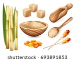 cane sugar set with isolated... | Shutterstock .eps vector #693891853