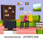flat aged elderly people... | Shutterstock .eps vector #693892180