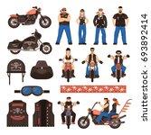 bikers flat cartoon icons set... | Shutterstock .eps vector #693892414