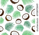 tropical coconut seamless... | Shutterstock .eps vector #693895849