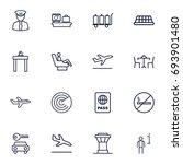 set of 16 aircraft outline... | Shutterstock .eps vector #693901480