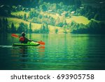 vacation with kayak. scenic... | Shutterstock . vector #693905758