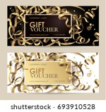 gift voucher with gold ribbons... | Shutterstock .eps vector #693910528