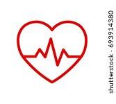 heartbeat line heart cardio.... | Shutterstock .eps vector #693914380