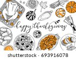 hand drawn thanksgiving food... | Shutterstock .eps vector #693916078
