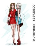 two stylish beautiful girl with ... | Shutterstock .eps vector #693920800