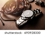 closeup luxury automatic... | Shutterstock . vector #693928330
