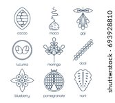 superfood line icons set. cacao ... | Shutterstock .eps vector #693928810