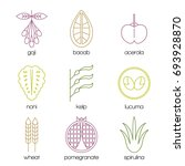 superfood color line icons set. ... | Shutterstock .eps vector #693928870