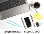 office desk table with computer ... | Shutterstock . vector #693930190