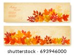 set of two nature banners with... | Shutterstock .eps vector #693946000