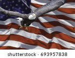 Small photo of American Eagle and American Flag