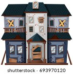 old house with broken windows...   Shutterstock .eps vector #693970120