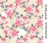 seamless floral pattern with... | Shutterstock .eps vector #693978610