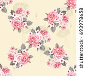 seamless floral pattern with... | Shutterstock .eps vector #693978658