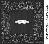 hand drawn doodle back to... | Shutterstock .eps vector #693979639
