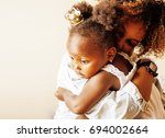 adorable sweet young afro... | Shutterstock . vector #694002664