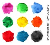 set of watercolor stains on a... | Shutterstock . vector #694005349