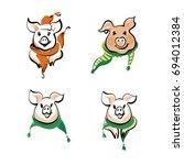 sketch vector illustration. set ... | Shutterstock .eps vector #694012384