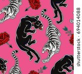 seamless pattern with wild cats ... | Shutterstock .eps vector #694014088