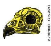 bird's skull. hand drawing... | Shutterstock .eps vector #694015066