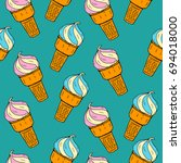 seamless pattern with hand... | Shutterstock .eps vector #694018000