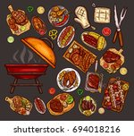 set of vector illustrations ... | Shutterstock .eps vector #694018216