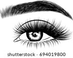 hand drawn woman's eye with... | Shutterstock .eps vector #694019800