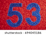 number fifty three blue color... | Shutterstock . vector #694045186