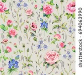 seamless watercolor rose...   Shutterstock . vector #694063990