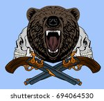 a grinning angry bear against... | Shutterstock .eps vector #694064530