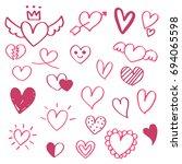 hand drawn doodle set of ... | Shutterstock .eps vector #694065598