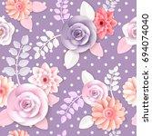 vector flowers seamless pattern ... | Shutterstock .eps vector #694074040