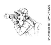 sketchy of photographer. | Shutterstock .eps vector #694074208