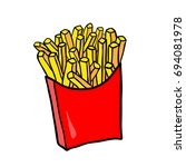 fast food. vector french fries... | Shutterstock .eps vector #694081978