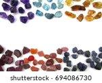 colorful gemstone uncut citrine ... | Shutterstock . vector #694086730