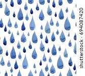 watercolor raindrops seamless... | Shutterstock . vector #694087420