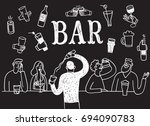 doodle people drinking at the... | Shutterstock .eps vector #694090783