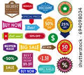 vintage sale label set design... | Shutterstock . vector #694098034