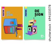 flat color covers set. abstract ...