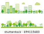 ecology green city  town and... | Shutterstock .eps vector #694115683