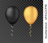 gold and black bunche balloons ... | Shutterstock . vector #694121998