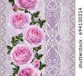 vertical floral border. pattern ... | Shutterstock . vector #694130314