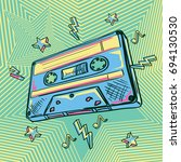 funky colorful drawn audio... | Shutterstock .eps vector #694130530