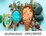 various types of spa sea salt... | Shutterstock . vector #694138450